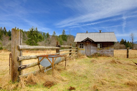 Build in 1907 old shed in Ashford, near Mt.Ranier, Washington State Stock Photo - 12312197