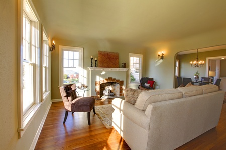 Green Walls, Beige Tones And Cozy Craftsman Style Living Room. Stock Photo    12312251