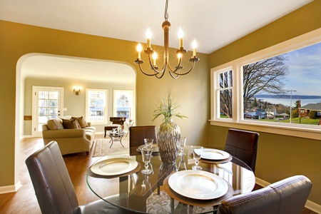 wood molding: Green interior with dining room with living room