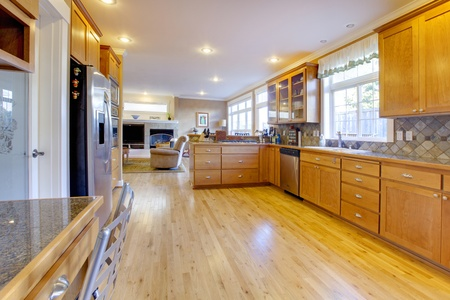 Very large open kitchen with nice wood. Stock Photo - 12312424