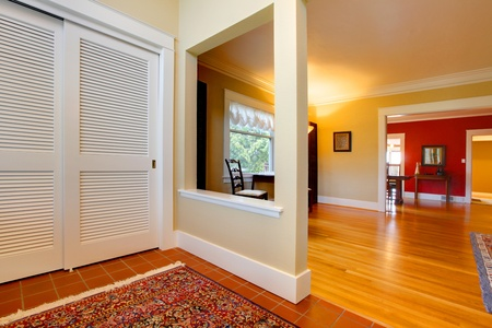 Hallway and entrance interior with beige and red walls. Stock Photo - 12319415