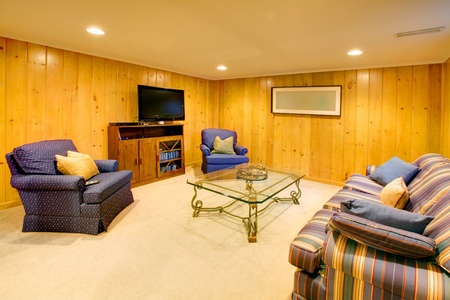 basement: Wood walls living room with TV. Stock Photo