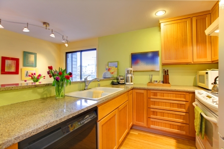Kitchen with wood cabinets and bright green walls. photo