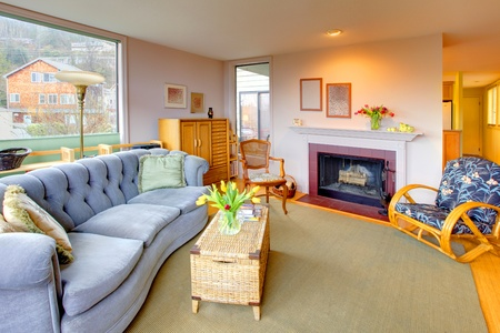 stock photo   tulip: Living room with fireplace.