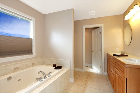 Simple bathroom with tub. photo