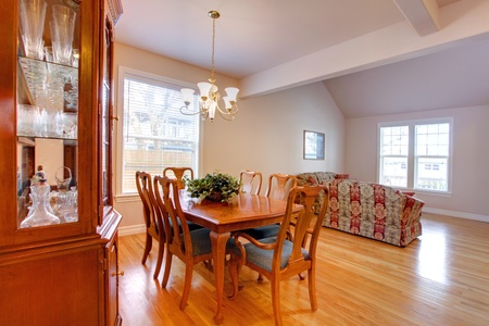 Dining room with china cabinet. photo