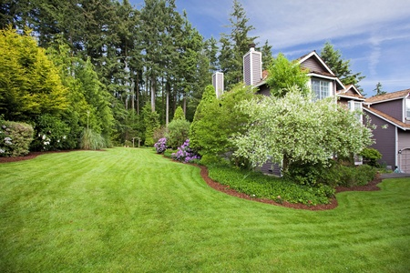 home garden: Spring landscape with a large browns house. Stock Photo