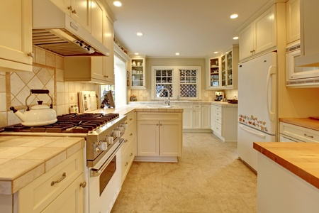Yellow cream white luxury kitchen photo
