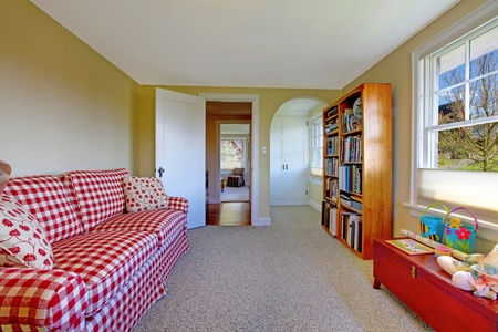 red sofa: Small green room with red sofa and book shelve