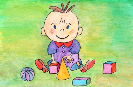 Watercolor original drawing of baby playing with toys. Stock Photo - 12311928