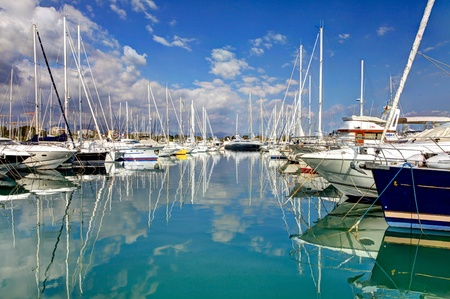 Beautiful boats and yachts in French town - Antibes.