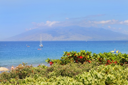 Polo Beach with island view and boats, Maui, Hawaii photo