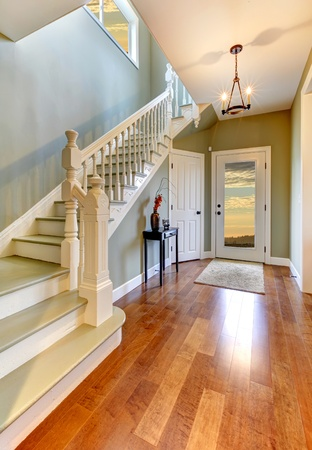 cherry hardwood: Cherry floor and green walls hallway and entrance