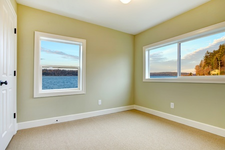 Green walls, beige carpet and water view bedroom. photo