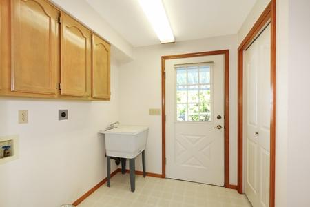 room door: Simple white living room interior. Stock Photo