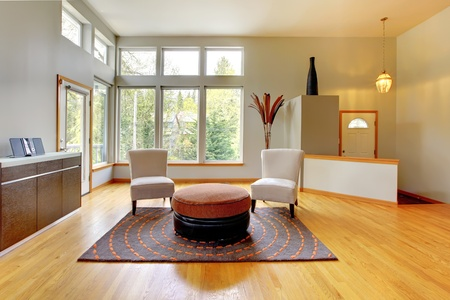 Fantastische moderne woonkamer interieur. Grote groene lichte kamer met modern meubilair.