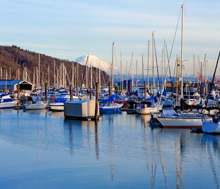 tacoma: Marina with boats and Mt.Ranier in Tacoma, WA with small boats.