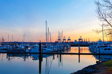 Port cranes in Tacoma port and marina with boats. Stock Photo - 12760636