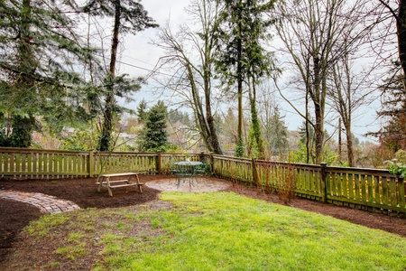 Rainy spring day and fenced simle back yard with table. photo