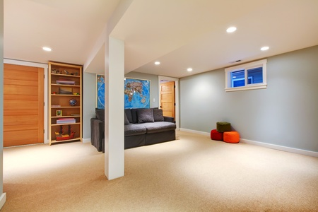 Basement blue room with sofa and book shelve.