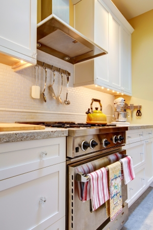 Close up of the white kitchen with stainless steal stove and hood. photo