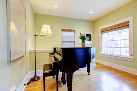 Green living room with black piano and large window. photo