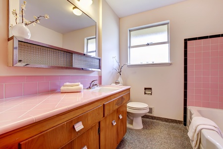 Pink old bathroom interior with tub and sink countertop .