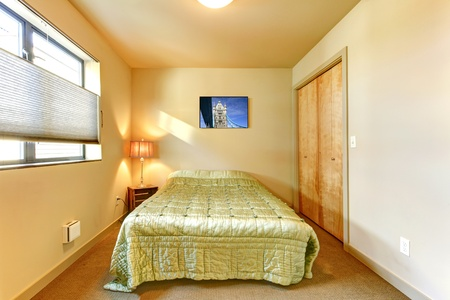Small yellow guest bedroom inter with green bed. Stock Photo - 12913803