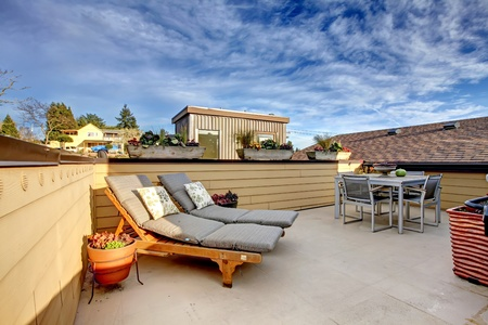 Apartment building roof top terrace exter with modern living area. Stock Photo - 12913805