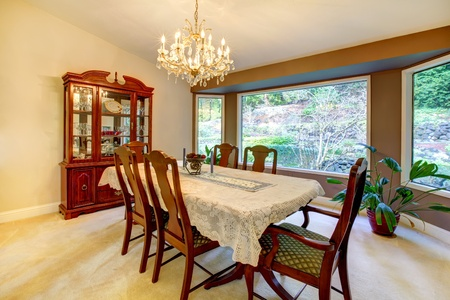 Classic American dining room with large window. Stock Photo - 12913933