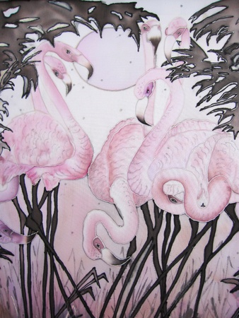 large bird: Pink flamingo and moon with tropical trees painting on silk.