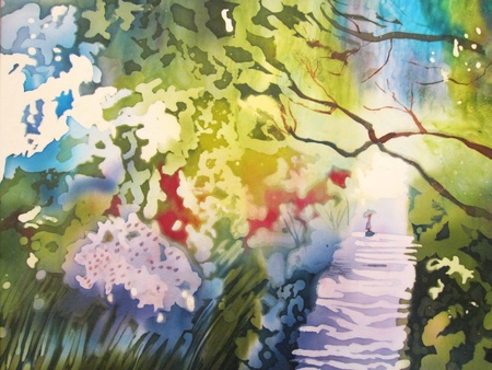 Modern abstract painting on silk with forest and trail and small person. photo
