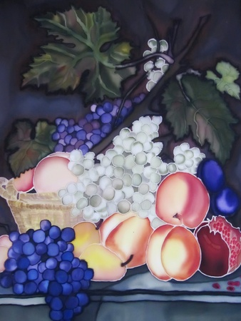 contemporary: Still life painting on silk with fruit and pottery.