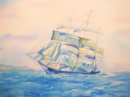 children painting: Blue ship at sea art painting on silk with misty sky. Stock Photo