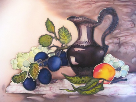 Still life painting on silk with fruit and pottery.