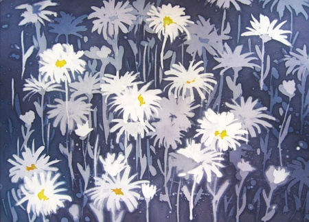 Background abstract painting with chamomile flowers in white and blue. Banco de Imagens