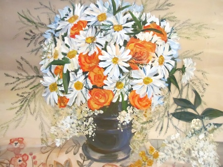 Still life Chamomiles and orange flowers in vase painting. photo