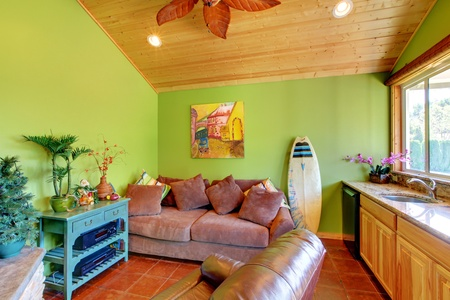 Green beach pool living room in the little house with sink and sofa. photo