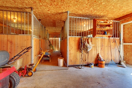 Interior of shed with horse stables.
