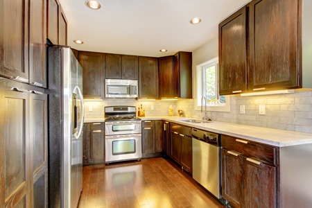 stainless steal: Modern luxury new dark brown and white kitchen with stainless steal appliances.