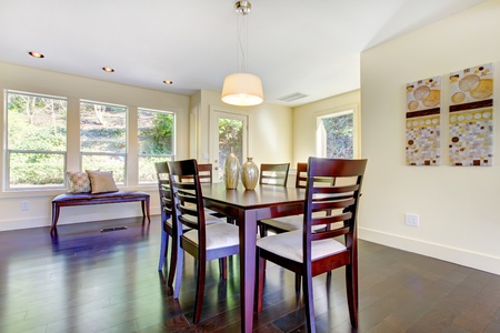 dining room: New bright modern home with dining room table.