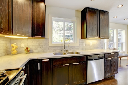 kitchen cabinets: Modern luxury new dark brown and white kitchen with stainless steal appliances.