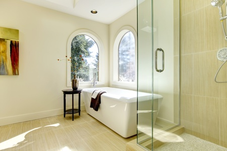 Luxury natural classic bathroom with shower and white tub.  photo