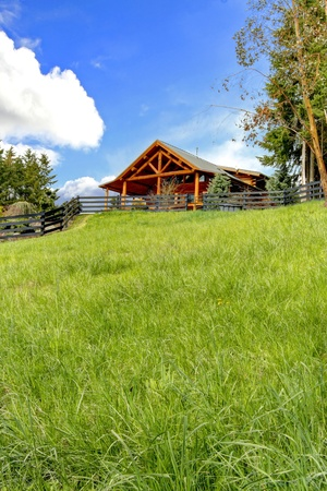 Beautiful log cabin on the hill with green fresh grass. photo