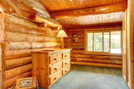 Log cabin house interior - an office space. photo
