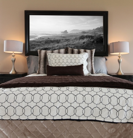 browns: Beautiful bedroom with browns and white modern bed.