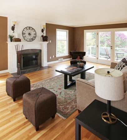 sala de estar: Living room interior cl�sico con blanco y marr�n.