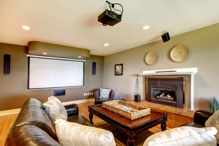 projector: Clasic Living room with projector screen and fireplace.