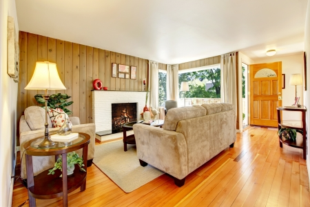 Beautiful cozy living room with hardwood floor and fireplace. photo