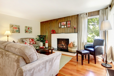Artistic beautiful living room with fireplace and wood wall with hardwood floor. photo